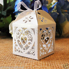 48pcs White Heart Laser Cut Wedding Party Favor Candy Gift Boxes W/Ribbon