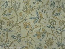 Sanderson Curtain Fabric SOLAINE 2.5m Teal/Cream Linen Mix Floral Design 250cm