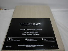 New Ellen Tracy 100% Egyptian Cotton Tan Twin Blanket 66x90 - Light Weight NIP