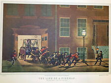 Life Fireman Night Alarm Water Pump Wagon 1952 Color Lithograph Currier Ives