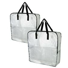2x IKEA DIMPA clear Reusable Shopping STORAGE BAG. Heavy duty with zipper.