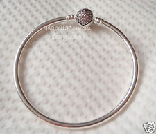 "LIMITED EDITION Authentic PANDORA~CIRCLE OF LOVE Heart BANGLE Bracelet 6.7"" 17cm"