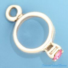 OCTOBER BIRTHSTONE RING with CZ CUBIC ZIRCONIA .925 Solid Sterling Silver Charm