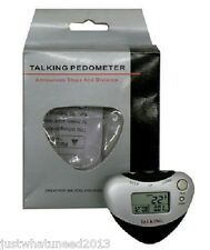 NEW  WALKING & JOGGING TALKING PEDOMETER ANNOUNCESS STEPS, DISTANCE