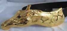 CHRISTOPHER ROSS LARGE ROTHSCHILD GIRAFFE BELT BUCKLE WITH BLACK C. ROSS BELT
