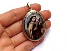 ca. 1890 Antique 14K Gold Saint Teresa and Jesus Painted Porcelain Locket