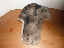 Woolrich PLAID Trapper bomber Cap Hat faux fur lined large New