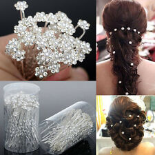 40 PCS Wedding Hair Pins Crystal Pearl Flower Bridal Hairpins Accessories  F2V
