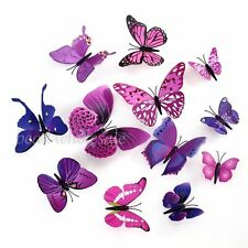 12Pcs 3D Butterfly Wall Adhesive Stickers Magnetic Room / Fridge Decoration