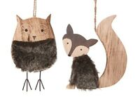 Vintage Wooden Fox & Owl Christmas Tree Hanging Bauble Home Decoration Ornament