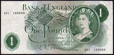 B281 O'BRIEN 1960 £1 BANKNOTE * A01 160599 * FIRST RUN * aVF *