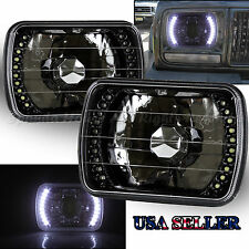 WHITE LED SIGNAL! 7x6 H6054 H6014 BLACK CHROME REFLECTORLENS HOUSING HEADLIGHTS