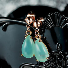 18ct rose gold GF tear drop jade green stone stud earrings