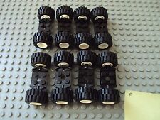 Lego Minifig ~ Lot Of White Wheels With Tires & Axles Sets Car Truck Rim/Hub #f1