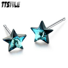 TTStyle Rodium 925 Sterling Silver 5mm Star Swarovski Crystal Earrings Pair NEW