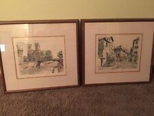 Franz HERBELOT Lot of 2 Signed WATERCOLOR Paintings PARIS Street Notre Dame