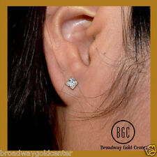 14k Solid White Gold 0.72 TCW Princess Man-made Diamond Earrings NOW ON SALE!!