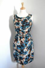 Kate Spade NEW YORK designer silk FLORAL WIGGLE DRESS 1950'S STYLE us 8 UK 12