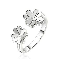 925 Sterling Silver Trebol Clover Luck Leaf Four Leaf Band Ring Size 8 B126