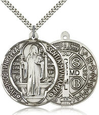 """Saint Benedict Medal For Men - .925 Sterling Silver Necklace On 24"""" Chain - 3..."""