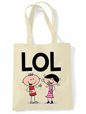 LOL SHOULDER  TOTE BAG - Laugh Out Loud Funny Text Language Facebook Twitter