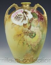 NIPPON HAND PAINTED ROSES & RAISED GOLD HANDLED VASE MARK #52