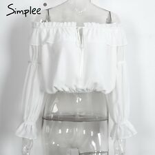 Simplee Off Shoulder Ruffle Blouse Shirt White Chiffon Long Sleeve Crop Tops