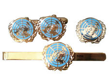United Nations Gift Set Cufflinks, Lapel Badge Tie Clip blue