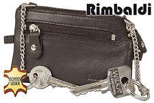 Rimbaldi flache cartera de piel con 2 Cadenilla para llaves en marrón oscuro