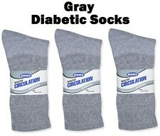 3 Pairs GRAY Mens Womens Circulation Diabetic Crew Socks Athletic Buruka 10-13
