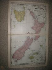 LARGE ANTIQUE 1898 NEW ZEALAND TASMANIA FIJI CHATHAM KING ISLANDS OCEANIA FINE N
