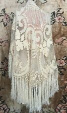 Antique 1920s Cream Boho Macrame Crochet Silk Fringe Flapper Wedding Shawl Vtg