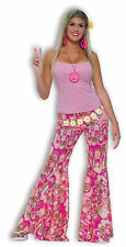 Onorevoli rosa anni'60 anni'70 Hippie Hippy TORCE Pantaloni Fancy Dress Costume Outfit