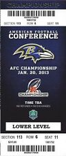 2012-13 NFL AFC CHAMPIONSHIP PLAYOFF RAVENS FULL UNUSED FOOTBALL TICKET PHANTOM