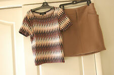 Marni Italy Dove Grey 100% wool skirt size44 and Nine West geometric jersey top