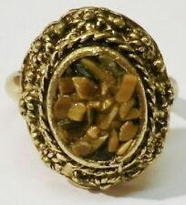 bague bijou vintage couleur or gravé déco pierre nacré marron réglable * 5197