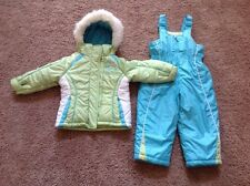 ZERO XPOSUR 2 PC SNOW SUIT HOODED WINTER COAT & BIBS - SIZE 2T AQUA BLUE KIWI