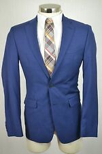 (46R) Calvin Klein Men's Navy Blue Wool MOD SLIM FIT Blazer Sport Coat Jacket