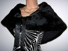 LAURA ASHLEY BLACK FAUX FUR WRAP/CAPE STYLE SATIN TIES ROSE PRINT SATIN LININING