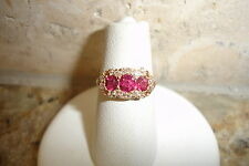 19TH C MINE CUT 16 DIAMONDS RING 18K GOLD 3 SPINELL RUBY TEXAS ESTATE 2.1 GRAMS