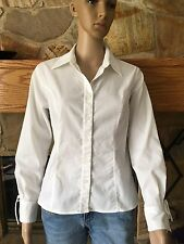 Womens APOSTROPHE Stretch White Button Front Blouse Top L/S Size 8P (Petite)