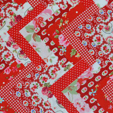 "30 x 5"" RED COTTON PATCHWORK FABRIC SQUARES CHARMS BUNDLE FLORAL SPOT GINGHAM"