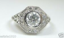 Antique Vintage Deco Diamond Engagement Ring Platinum EGL USA D-E Ring Size 6.5