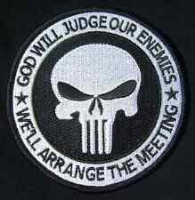 GOD WILL JUDGE OUR ENEMIES US ARMY PUNISHER SWAT VELCRO® BRAND FASTENER PATCH 4""