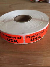 "1.25"" x .625"" PRODUCT OF USA MERCHANDISE LABELS 1000 PER ROLL FL RED STICKER"