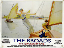 New 15x20cm NORFOLK BROADS Railway vintage enamel style metal advertising sign