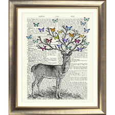 ART PRINT ORIGINAL ANTIQUE BOOK PAGE OLD Dictionary Vintage DEER STAG BUTTERFLY