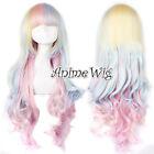 Lolita Harajuku Style Mixed Multi-Color Curly Long Halloween Anime Cosplay Wig