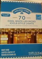 Holiday Time 70 Cool White LED Micro Icicle Christmas Lights White Wire 11FT NEW