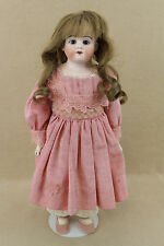 "17"" antique bisque shoulder head leather German Heubach girl Doll in Pink dress"